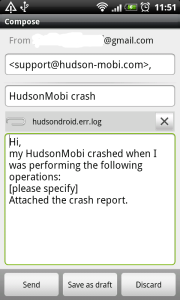 Hudson Crash e-mail composer